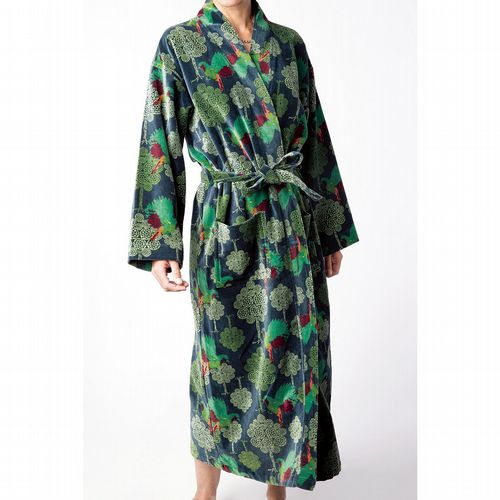 Printed Cotton Velvet Robe - Atlantic Bird